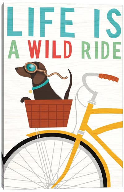 Dachshund Bicycle II Canvas Art Print