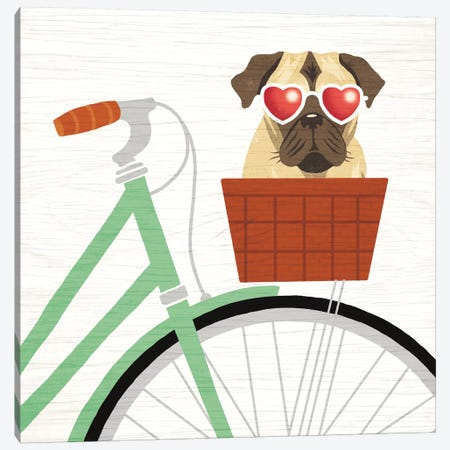 Pug Bicycle I Canvas Print #WAC6151} by Michael Mullan Canvas Art