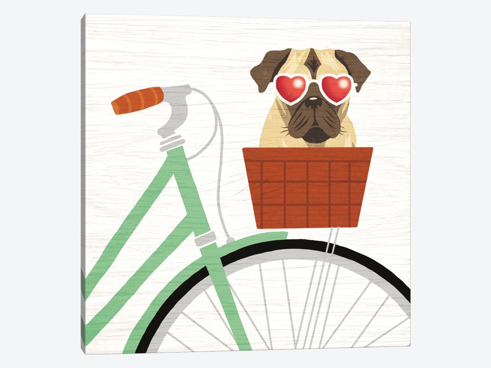 Pug Bicycle I by Michael Mullan 1-piece Canvas Art Print