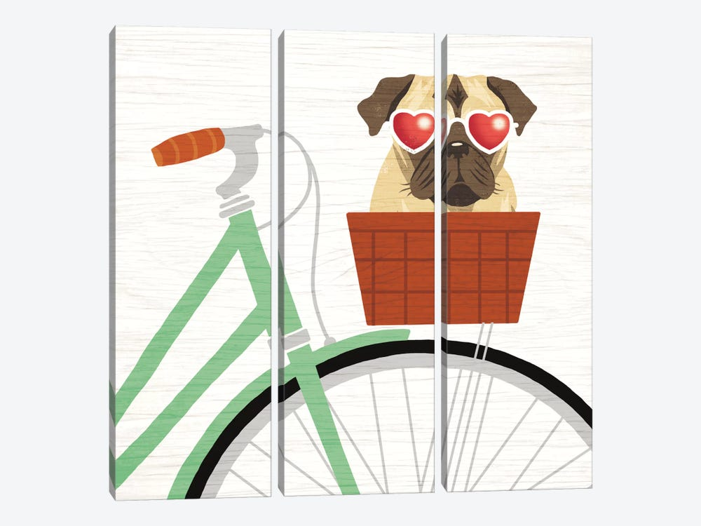 Pug Bicycle I by Michael Mullan 3-piece Art Print