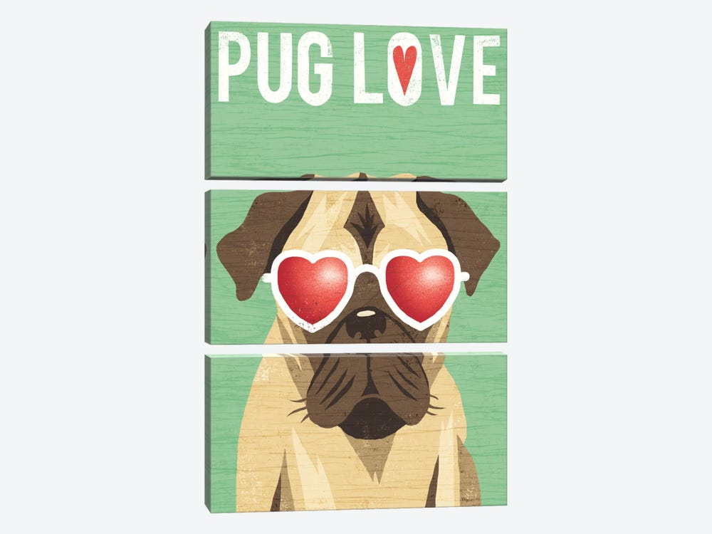 Pug II by Michael Mullan 3-piece Canvas Artwork