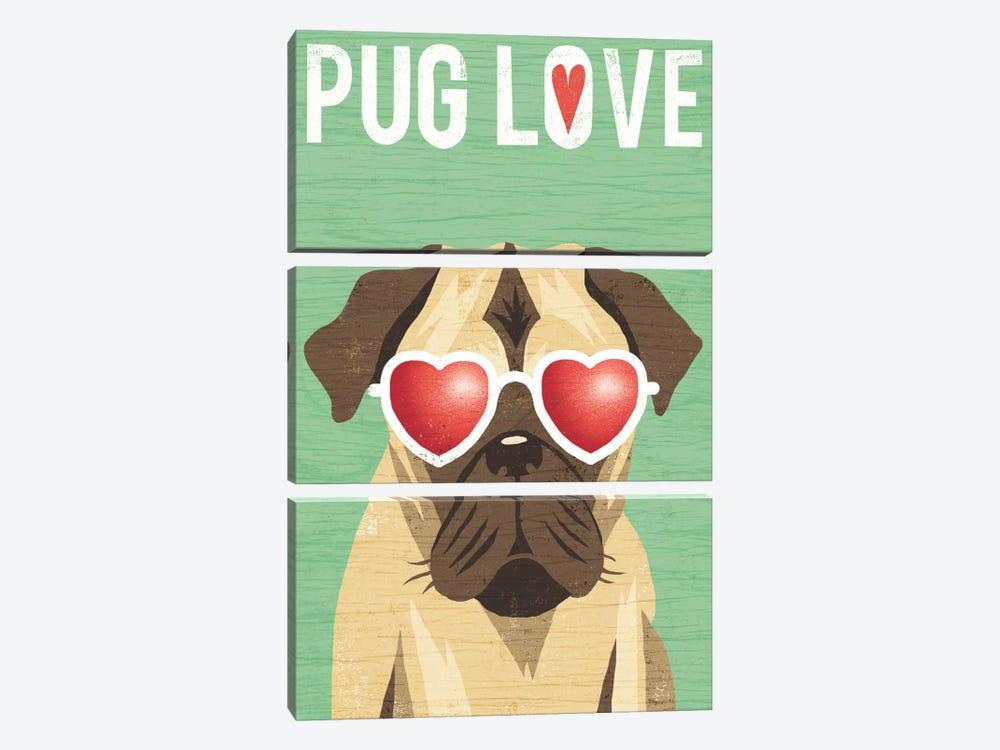 Pug II by Michael Mullan 3-piece Canvas Artwork