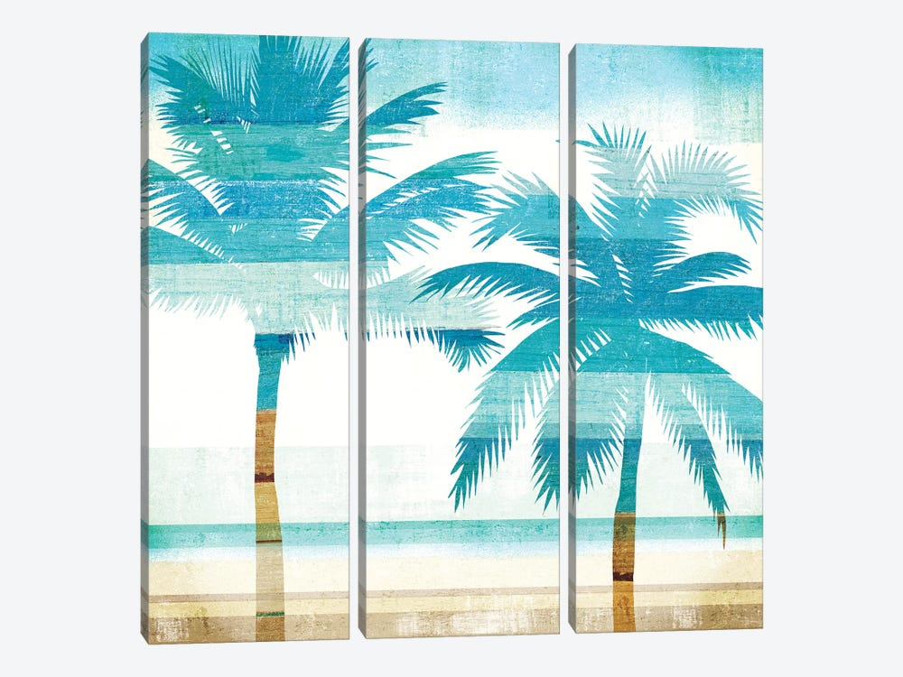Beachscape Palms III by Michael Mullan 3-piece Canvas Wall Art