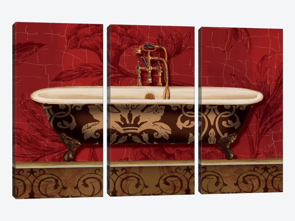 Royal Red Bath I by Lisa Audit 3-piece Canvas Wall Art