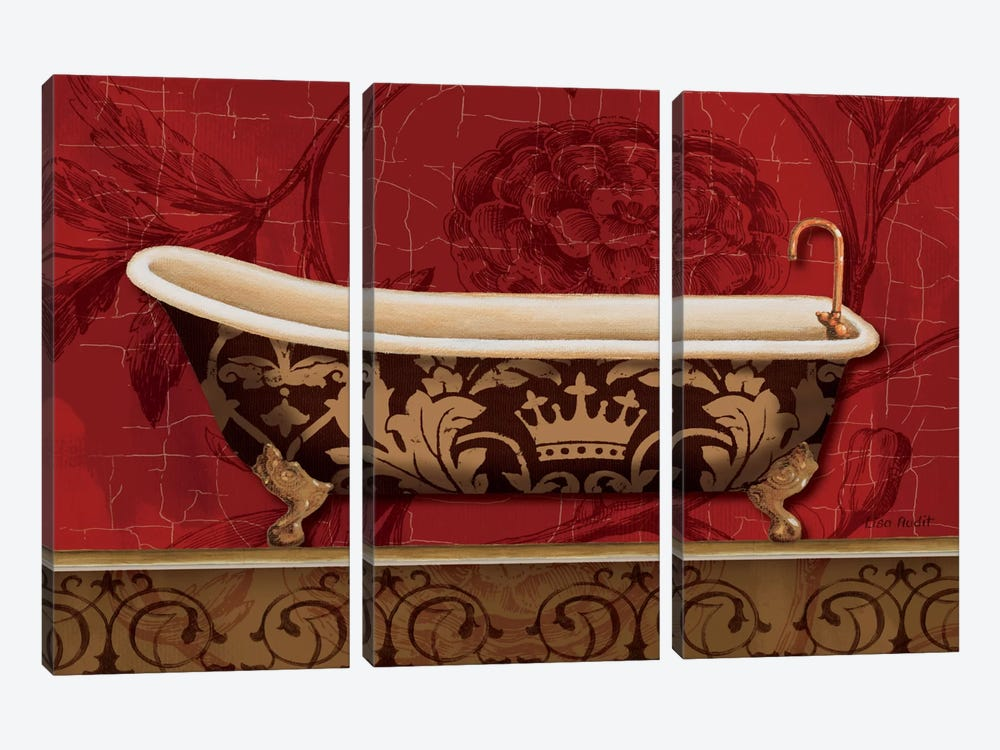 Royal Red Bath II by Lisa Audit 3-piece Canvas Print