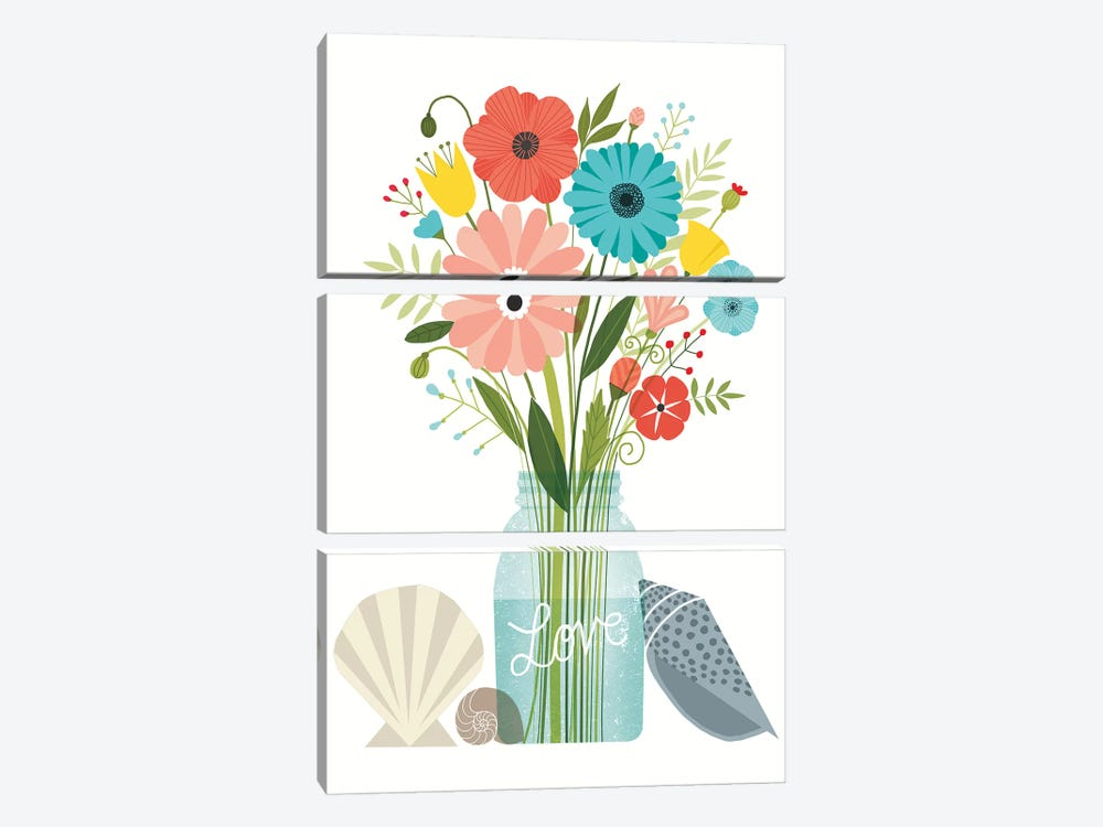 Seaside Bouquet VI by Michael Mullan 3-piece Canvas Print