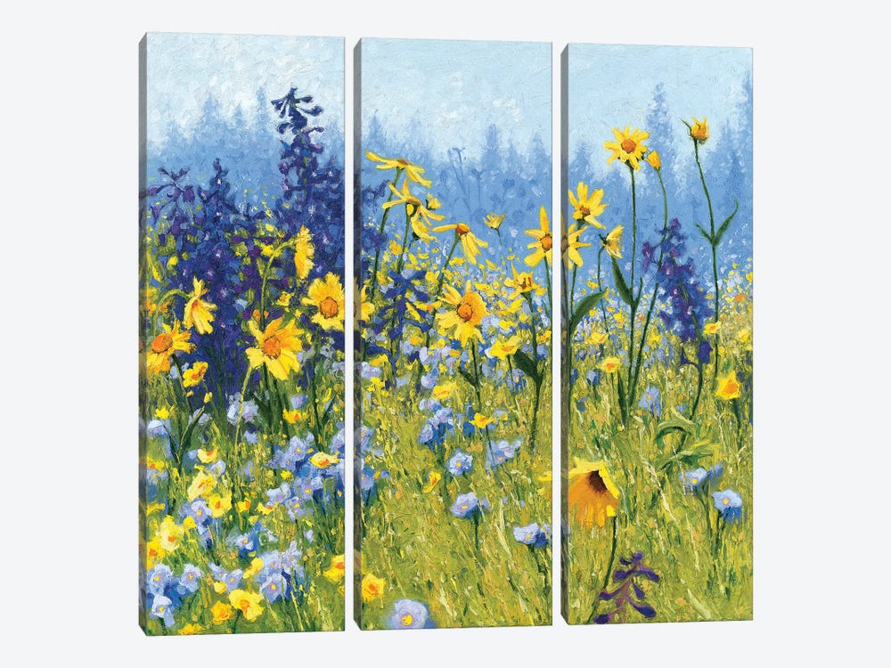 Joyful In July III by Shirley Novak 3-piece Canvas Print