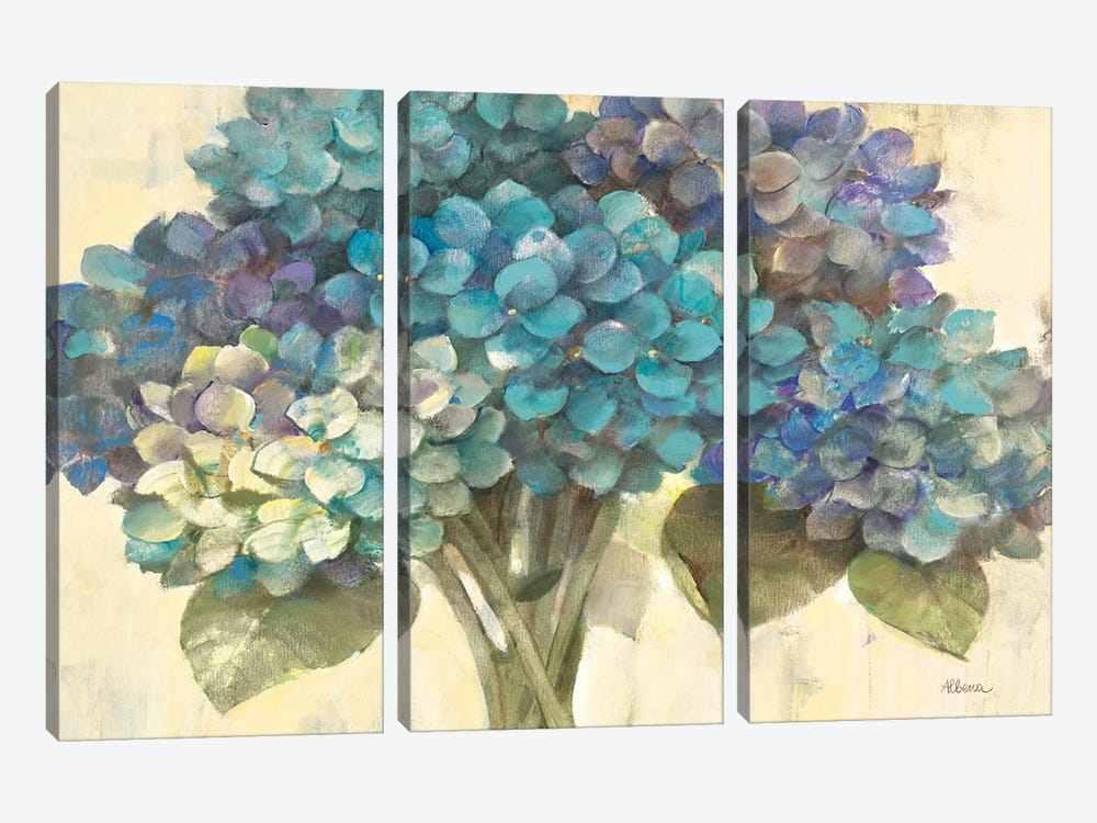 Turquoise Hydrangea by Albena Hristova 3-piece Canvas Artwork
