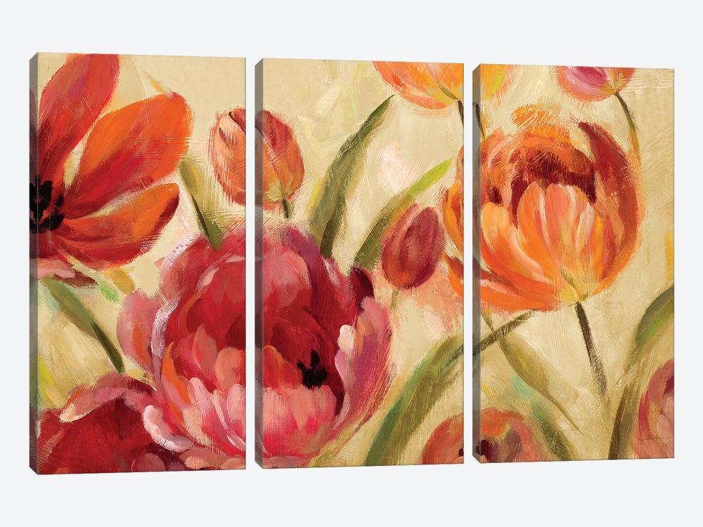 Expressive Tulips by Silvia Vassileva 3-piece Canvas Wall Art