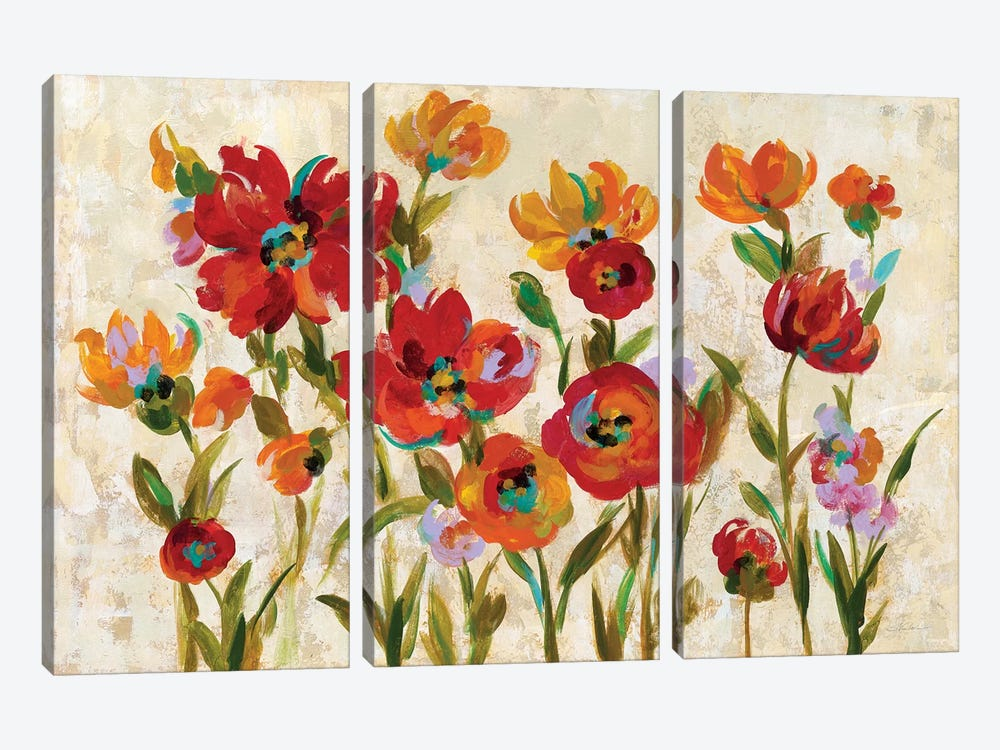 July In The Garden I by Silvia Vassileva 3-piece Canvas Wall Art