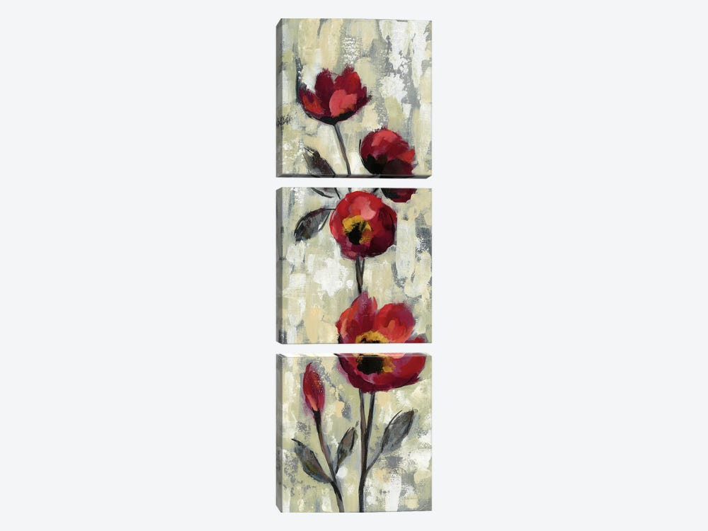 Simple Red Floral I by Silvia Vassileva 3-piece Canvas Art
