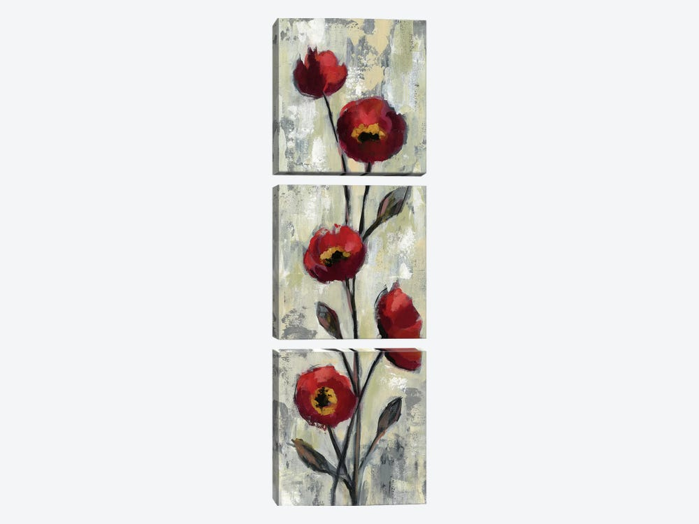 Simple Red Floral II by Silvia Vassileva 3-piece Canvas Print