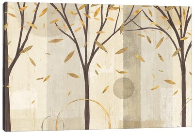 Golden Watercolor Forest I Canvas Art Print