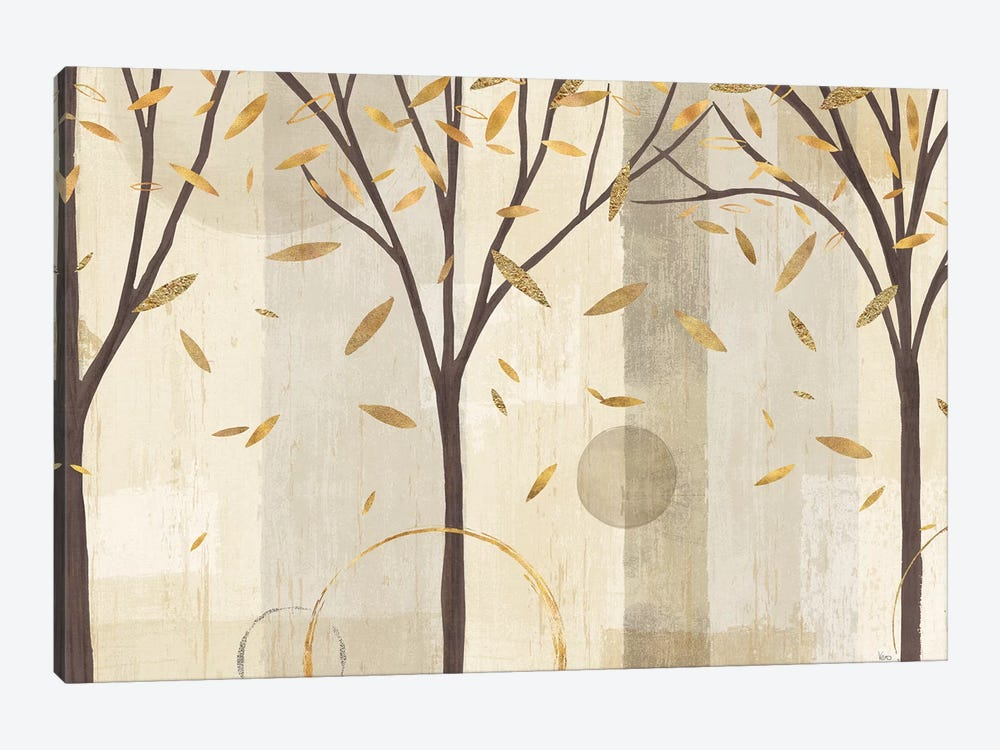 Golden Watercolor Forest I by Veronique Charron 1-piece Canvas Artwork