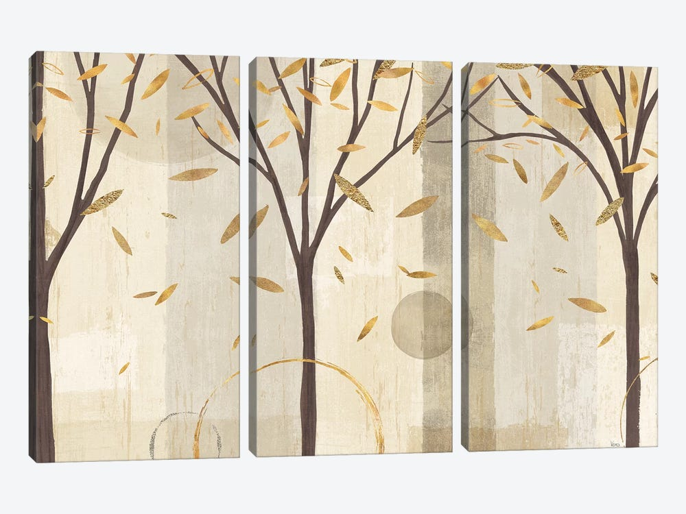 Golden Watercolor Forest I by Veronique Charron 3-piece Canvas Art