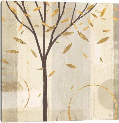 Golden Watercolor Forest IV Canvas Art Print