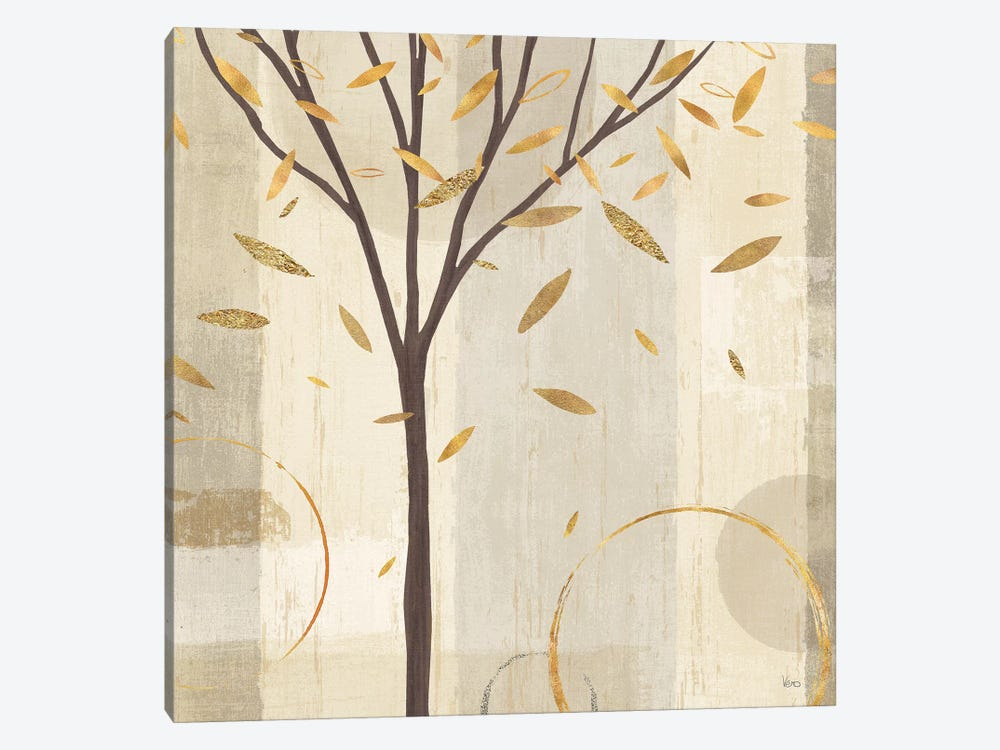 Golden Watercolor Forest IV 1-piece Canvas Artwork