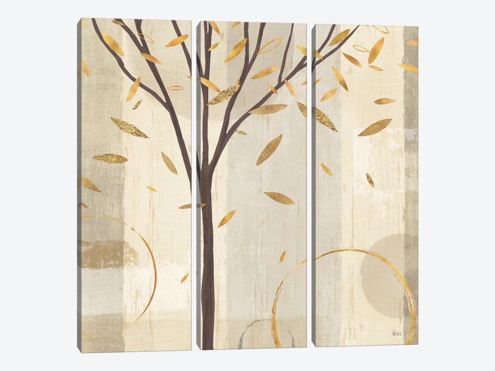 Golden Watercolor Forest IV by Veronique Charron 3-piece Canvas Artwork