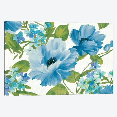 Blue Summer Poppies Canvas Print #WAC6332} by Wild Apple Portfolio Canvas Art