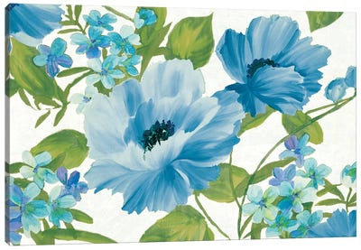 Blue Summer Poppies Canvas Print #WAC6332