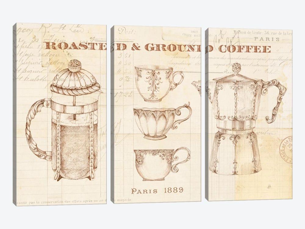 Authentic Coffee I by Daphne Brissonnet 3-piece Canvas Print