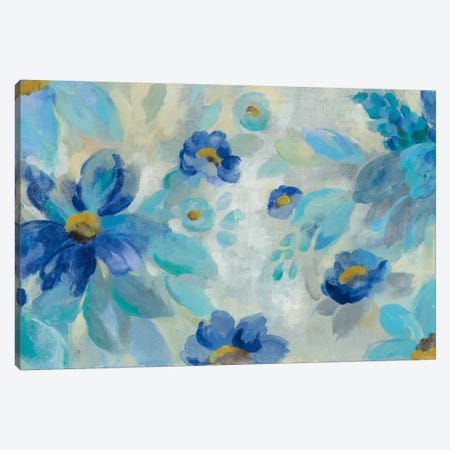 Blue Flowers Whisper I Canvas Print #WAC6343} by Silvia Vassileva Art Print