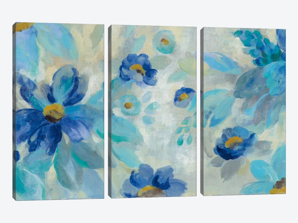 Blue Flowers Whisper I by Silvia Vassileva 3-piece Canvas Print