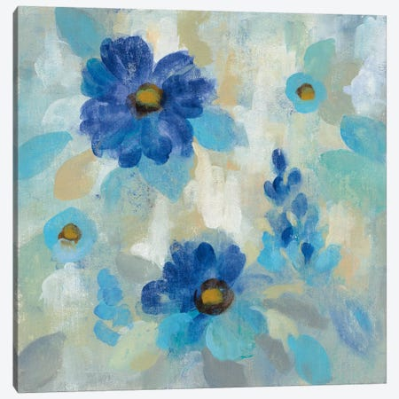 Blue Flowers Whisper II 3-Piece Canvas #WAC6344} by Silvia Vassileva Canvas Art