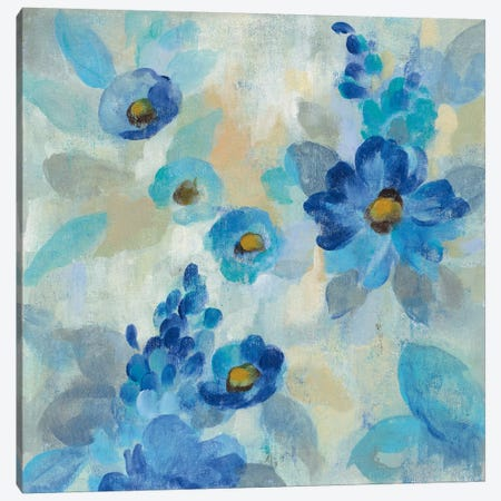 Blue Flowers Whisper III 3-Piece Canvas #WAC6345} by Silvia Vassileva Canvas Art