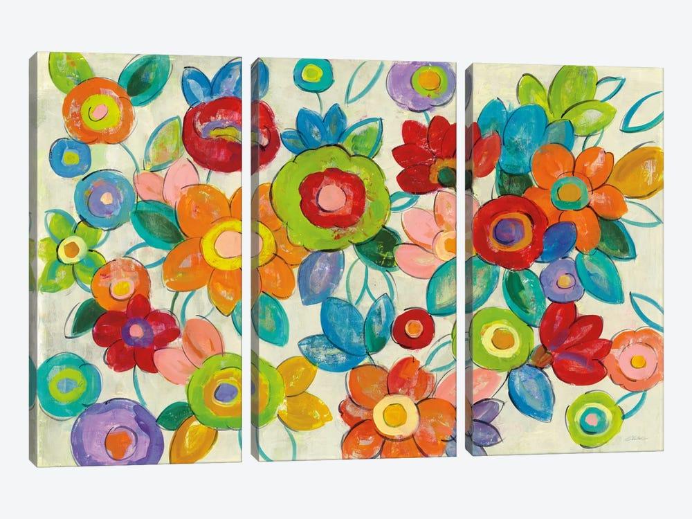 Bright Decorative Flowers I by Silvia Vassileva 3-piece Canvas Wall Art