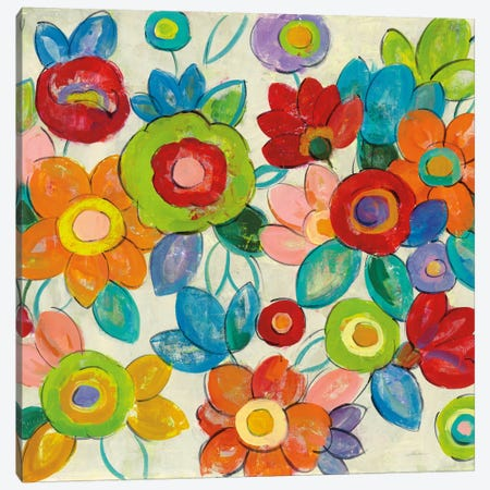 Bright Decorative Flowers II Canvas Print #WAC6347} by Silvia Vassileva Canvas Artwork