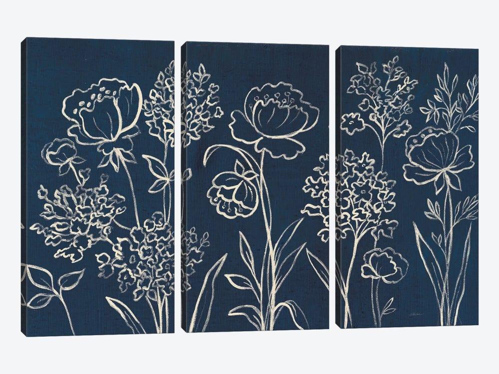 Indigo Floral I by Silvia Vassileva 3-piece Canvas Print
