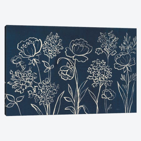 Indigo Floral I Canvas Print #WAC6367} by Silvia Vassileva Canvas Wall Art