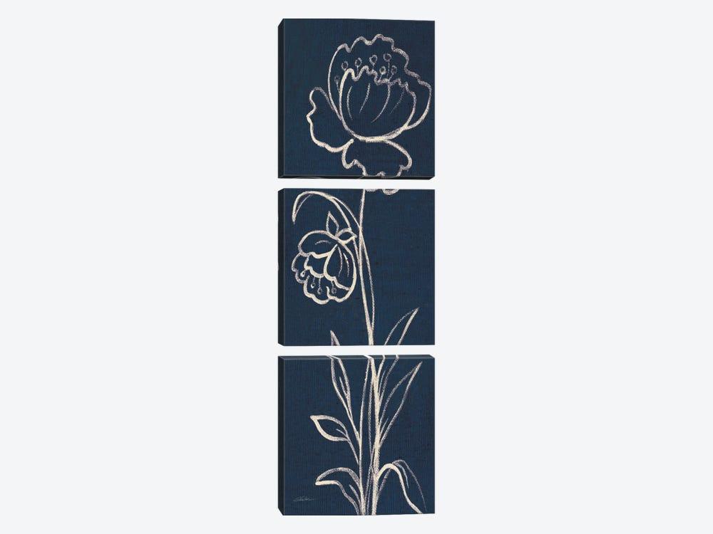 Indigo Floral II by Silvia Vassileva 3-piece Canvas Wall Art