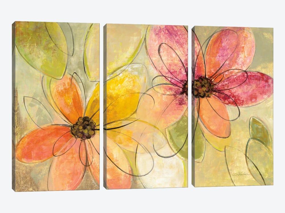 Neon Floral I by Silvia Vassileva 3-piece Canvas Artwork