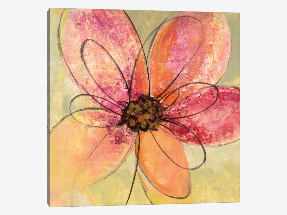 Neon Floral III 1-piece Canvas Wall Art
