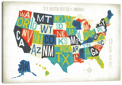Letterpressed Maps Series: USA Canvas Print #WAC6374