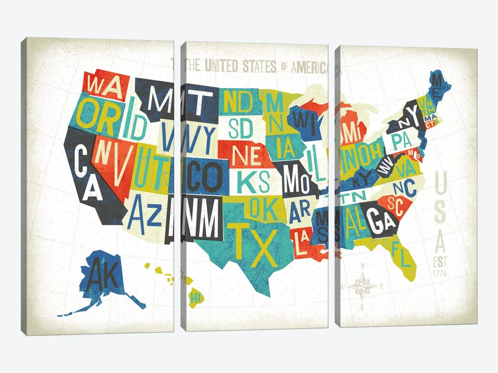 USA by Michael Mullan 3-piece Art Print