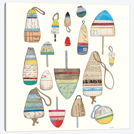 Lobster Buoys On White Canvas Print #WAC6404} by Courtney Prahl Canvas Print