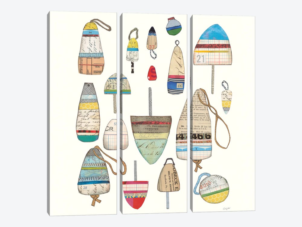 Lobster Buoys On White by Courtney Prahl 3-piece Canvas Art Print