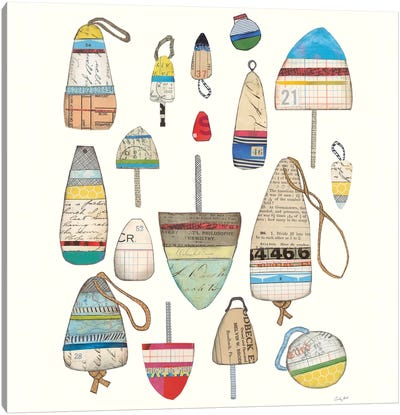 Lobster Buoys On White Canvas Art Print
