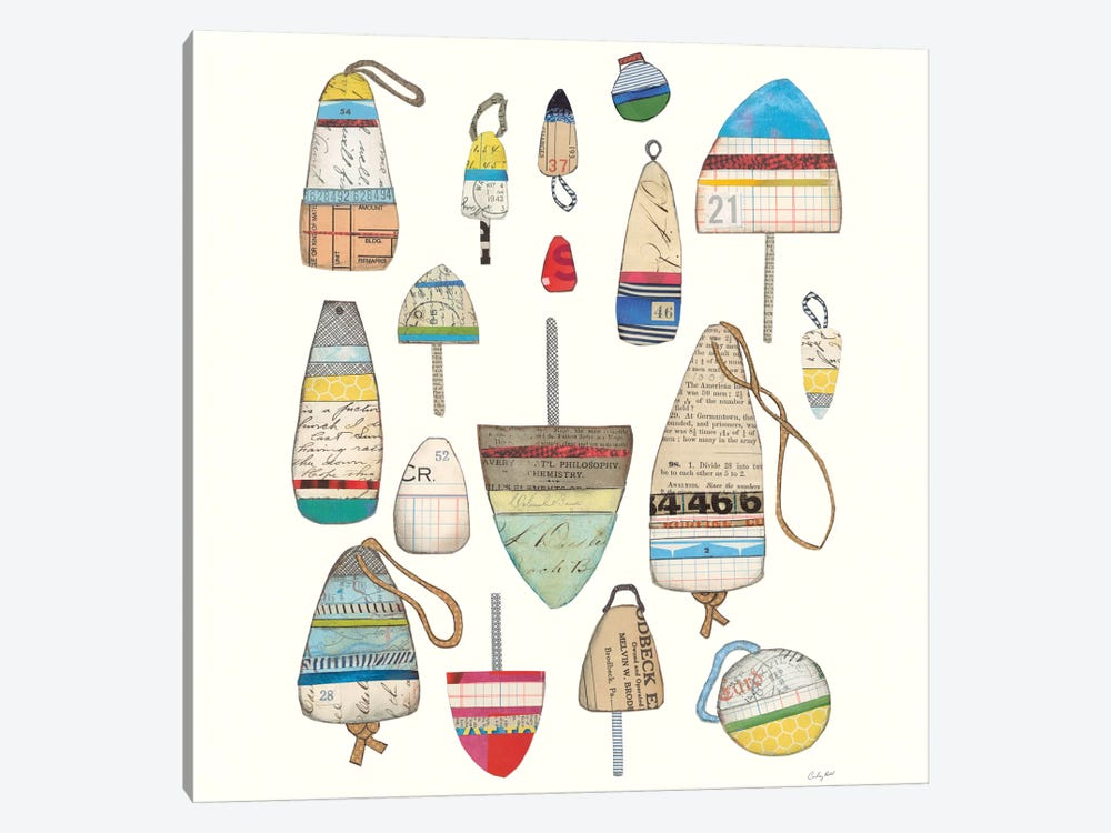 Lobster Buoys On White by Courtney Prahl 1-piece Canvas Art Print