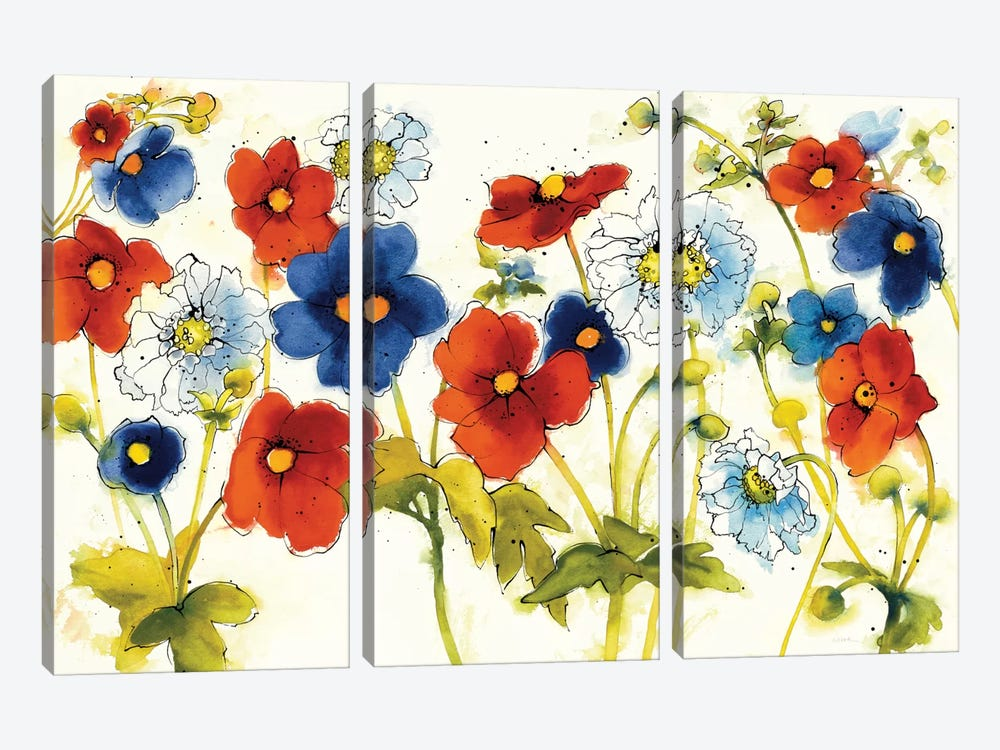 Independent Blooms I by Shirley Novak 3-piece Canvas Wall Art