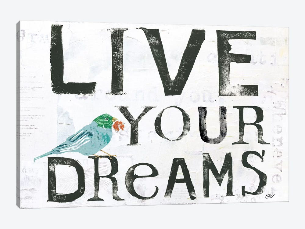 Live Your Dreams by Kellie Day 1-piece Canvas Wall Art
