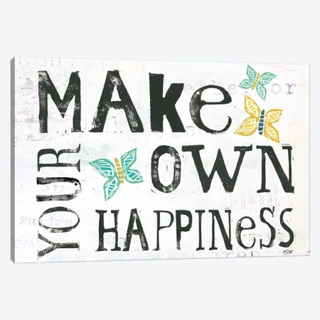 Make Your Own Happiness Canvas Print #WAC6459} by Kellie Day Canvas Print
