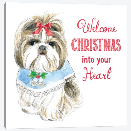 Christmas Glamour Pups II Canvas Print #WAC6463} by Beth Grove Canvas Artwork