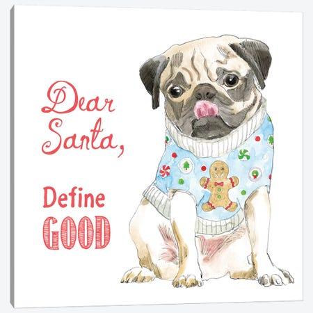 Christmas Glamour Pups IV Canvas Print #WAC6465} by Beth Grove Canvas Art Print