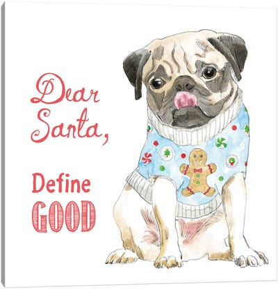 Christmas Glamour Pups IV Canvas Art Print