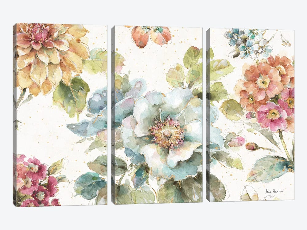 Country Bloom I by Lisa Audit 3-piece Art Print