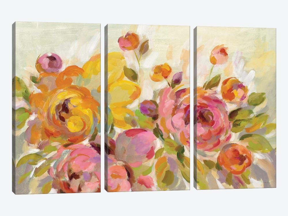Brushy Peonies by Silvia Vassileva 3-piece Canvas Art Print